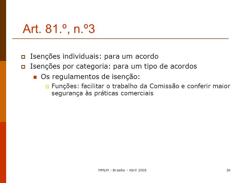 MMLM - Brasília - Abril 200535 A relevância directa do interesse do consumidor: o balanço económico A partilha das vantagens económicas com o consumid