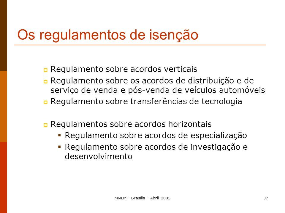 MMLM - Brasília - Abril 200536 Art. 81.º, n.º3 Isenções individuais: para um acordo Isenções por categoria: para um tipo de acordos Os regulamentos de