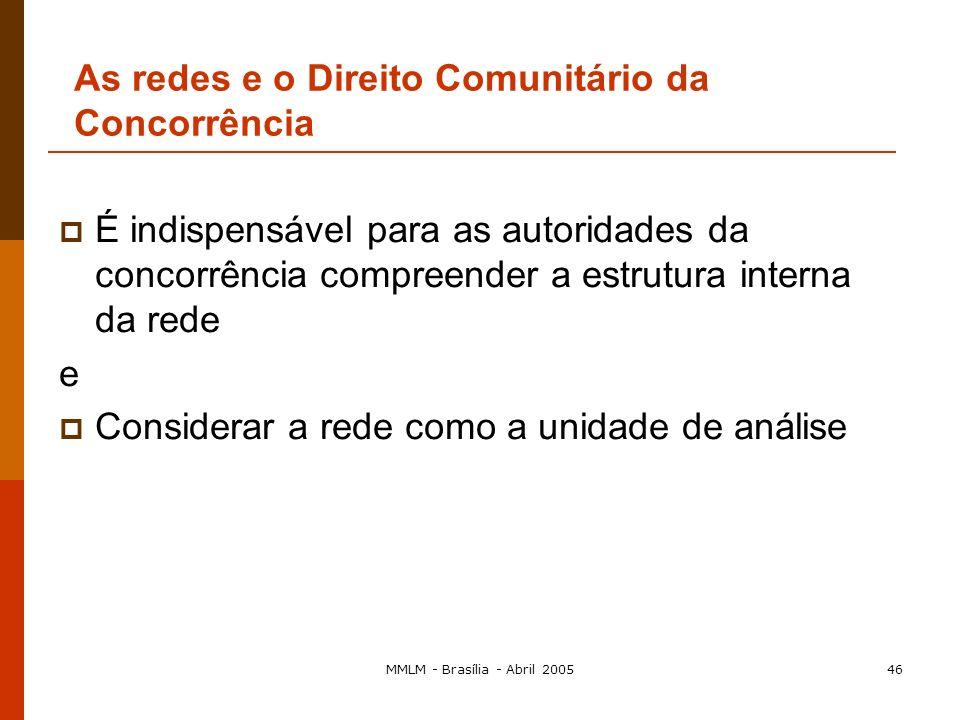 MMLM - Brasília - Abril 200545 As redes e o Direito Comunitário da Concorrência Uma abordagem mais complacente dos acordos de cooperação Maior relevân