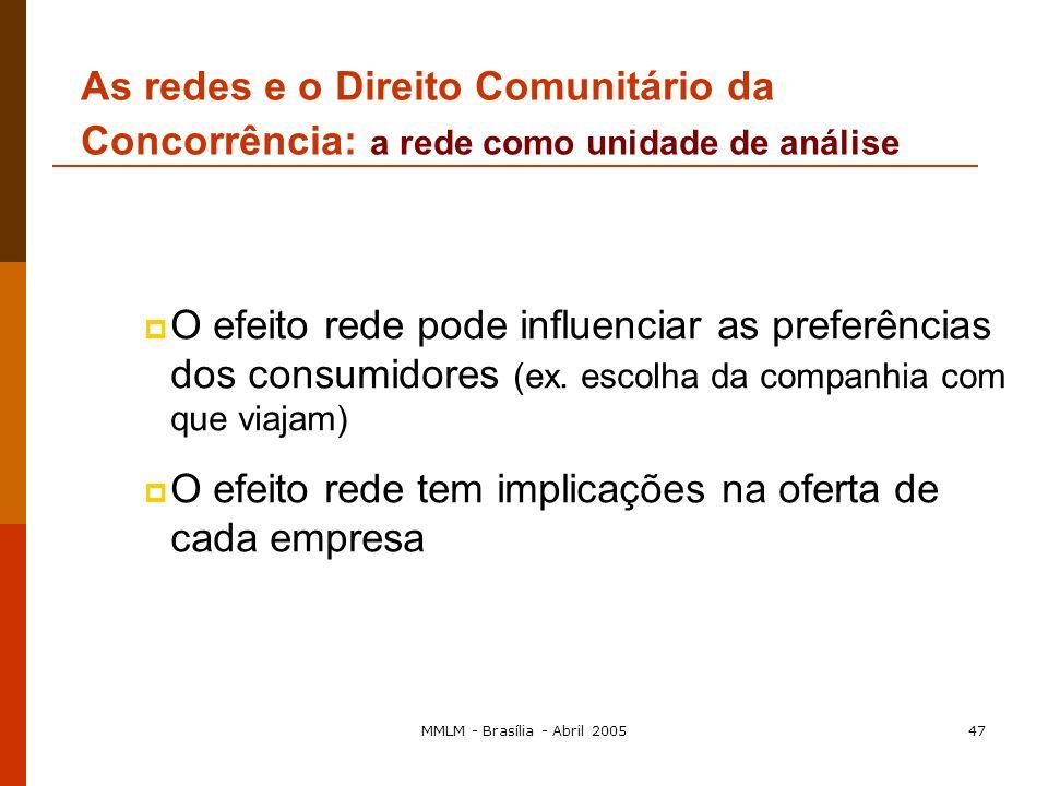 MMLM - Brasília - Abril 200546 É indispensável para as autoridades da concorrência compreender a estrutura interna da rede e Considerar a rede como a