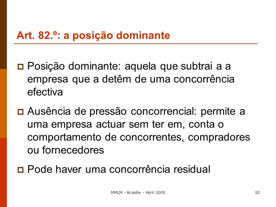 MMLM - Brasília - Abril 200551 a) Impor, de forma directa ou indirecta, os preços de compra ou de venda ou outras condições de transacção não equitati
