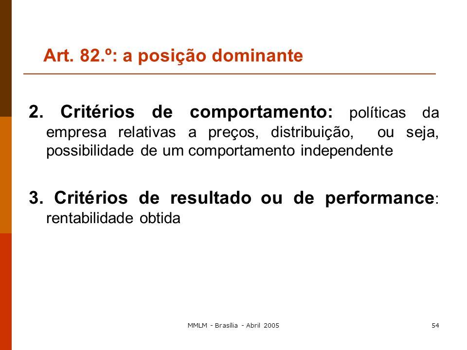 MMLM - Brasília - Abril 200553 Art. 82.º: a posição dominante a) Critérios de determinação da posição dominante 1. Critérios estruturais (critérios qu