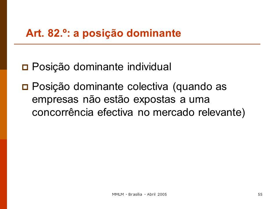 MMLM - Brasília - Abril 200554 2. Critérios de comportamento: políticas da empresa relativas a preços, distribuição, ou seja, possibilidade de um comp