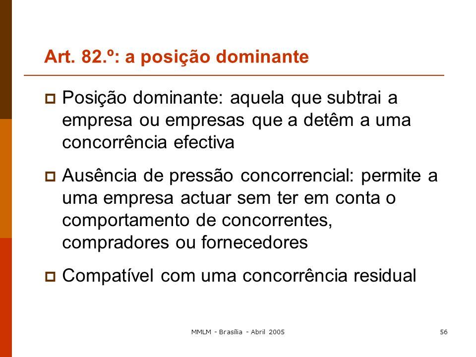 MMLM - Brasília - Abril 200555 Posição dominante individual Posição dominante colectiva (quando as empresas não estão expostas a uma concorrência efec