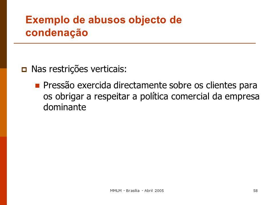 MMLM - Brasília - Abril 200557 A empresa utiliza a sua posição para obter vantagens que não obteria se houvesse concorrência no mercado em questão Uma