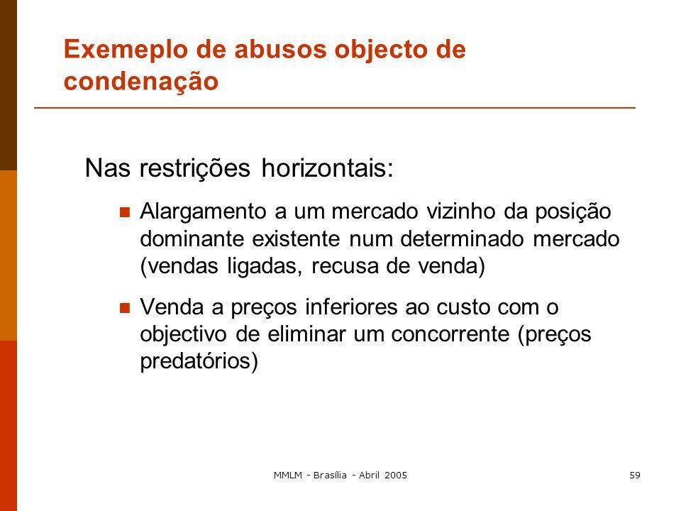 MMLM - Brasília - Abril 200558 Nas restrições verticais: Pressão exercida directamente sobre os clientes para os obrigar a respeitar a política comerc