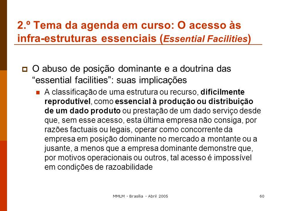 MMLM - Brasília - Abril 200559 Nas restrições horizontais: Alargamento a um mercado vizinho da posição dominante existente num determinado mercado (ve