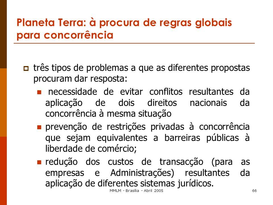 MMLM - Brasília - Abril 200565 Conclusão: duas questões Uma cultura ou várias culturas de concorrência? Qual será o futuro do Direito da Concorrência