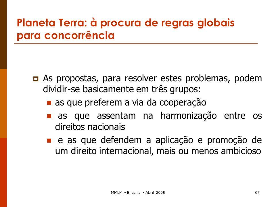 MMLM - Brasília - Abril 200566 Planeta Terra: à procura de regras globais para concorrência três tipos de problemas a que as diferentes propostas proc