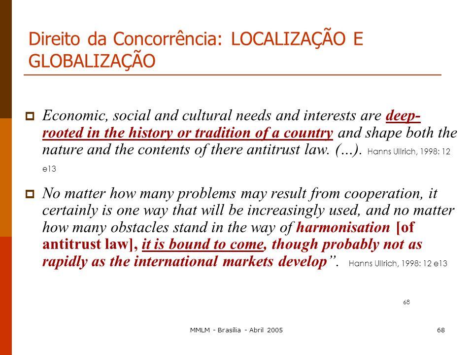 MMLM - Brasília - Abril 200567 Planeta Terra: à procura de regras globais para concorrência As propostas, para resolver estes problemas, podem dividir