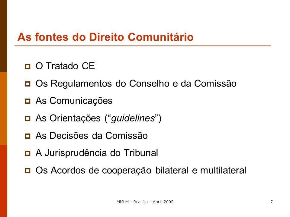 MMLM - Brasília - Abril 20056 CEE/União Europeia, 1957-2005 Final dos anos noventa: Comissão procura meios de descentralizar a aplicação do direito da
