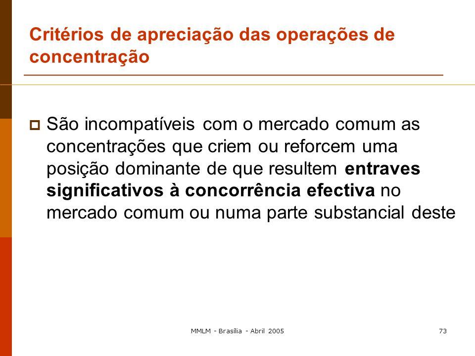 MMLM - Brasília - Abril 200572 Definição de dimensão comunitária Regra geral A dimensão comunitária: volume de negócios das empresas envolvidas Volume