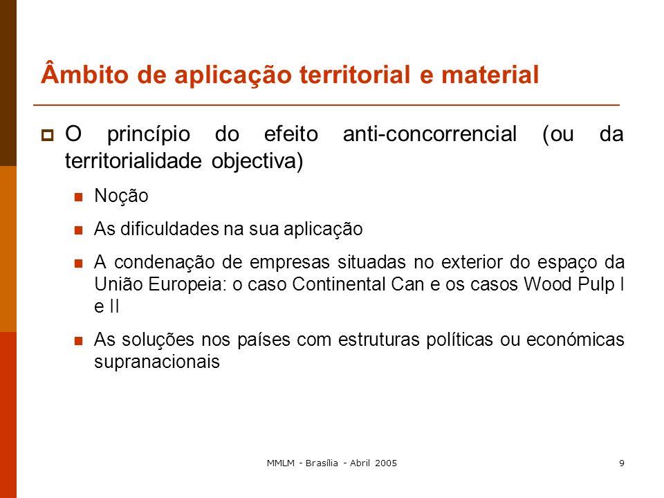 MMLM - Brasília - Abril 20058 Caracterização geral do direito comunitário da concorrência O Tratado CE e a política da concorrência As regras que se a