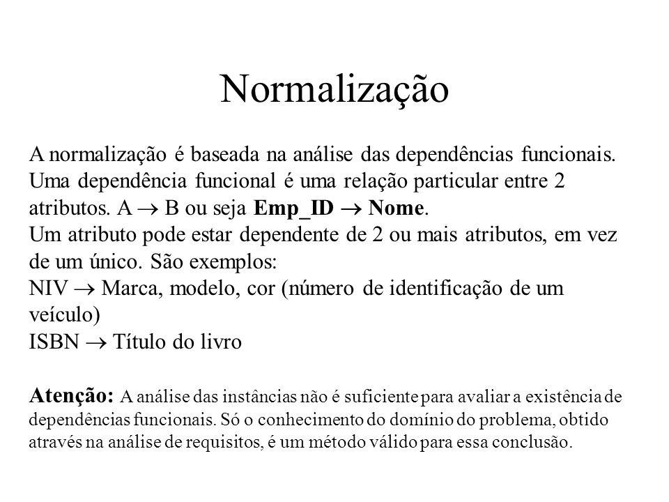 Normalização A normalização é baseada na análise das dependências funcionais. Uma dependência funcional é uma relação particular entre 2 atributos. A