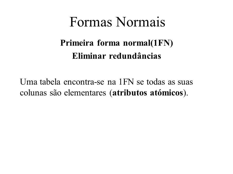 Formas Normais Primeira forma normal(1FN) Eliminar redundâncias Uma tabela encontra-se na 1FN se todas as suas colunas são elementares (atributos atóm