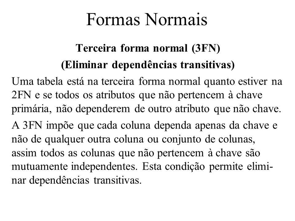 Terceira forma normal (3FN) (Eliminar dependências transitivas) Uma tabela está na terceira forma normal quanto estiver na 2FN e se todos os atributos