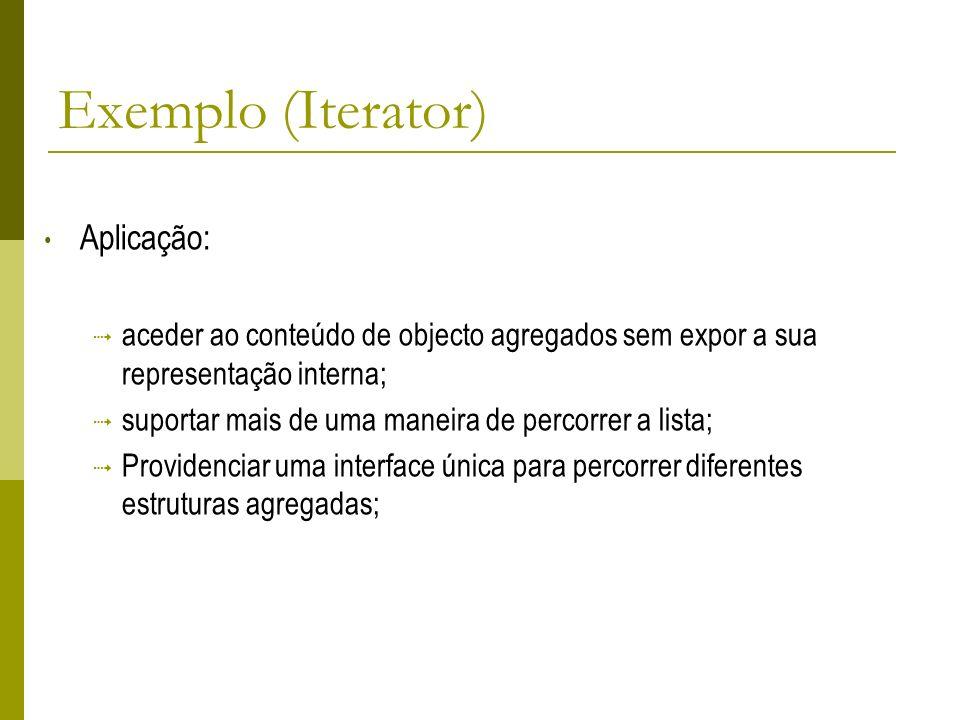 Exemplo (Iterator) Aplicação: aceder ao conteúdo de objecto agregados sem expor a sua representação interna; suportar mais de uma maneira de percorrer