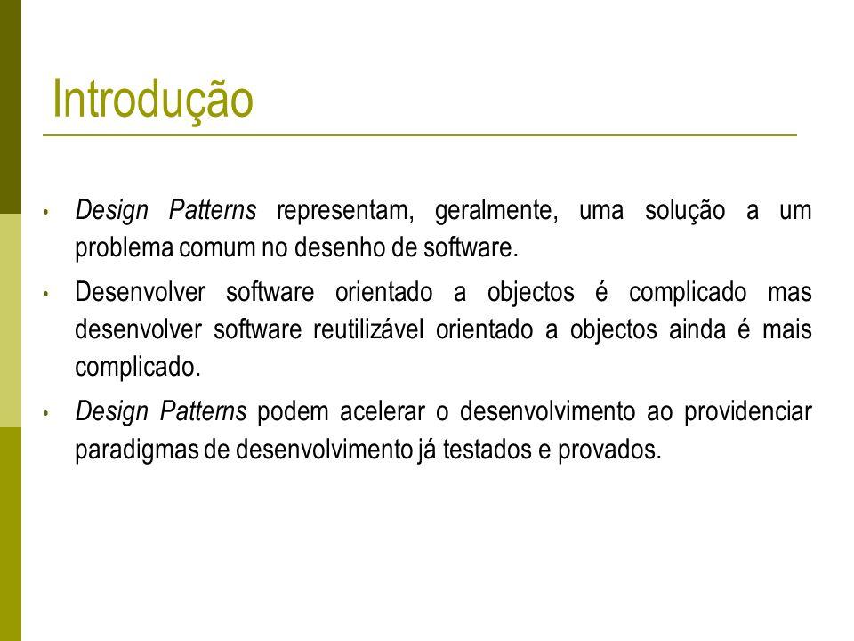 Introdução Design Patterns representam, geralmente, uma solução a um problema comum no desenho de software. Desenvolver software orientado a objectos