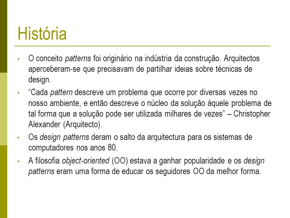 História O conceito patterns foi originário na indústria da construção. Arquitectos aperceberam-se que precisavam de partilhar ideias sobre técnicas d