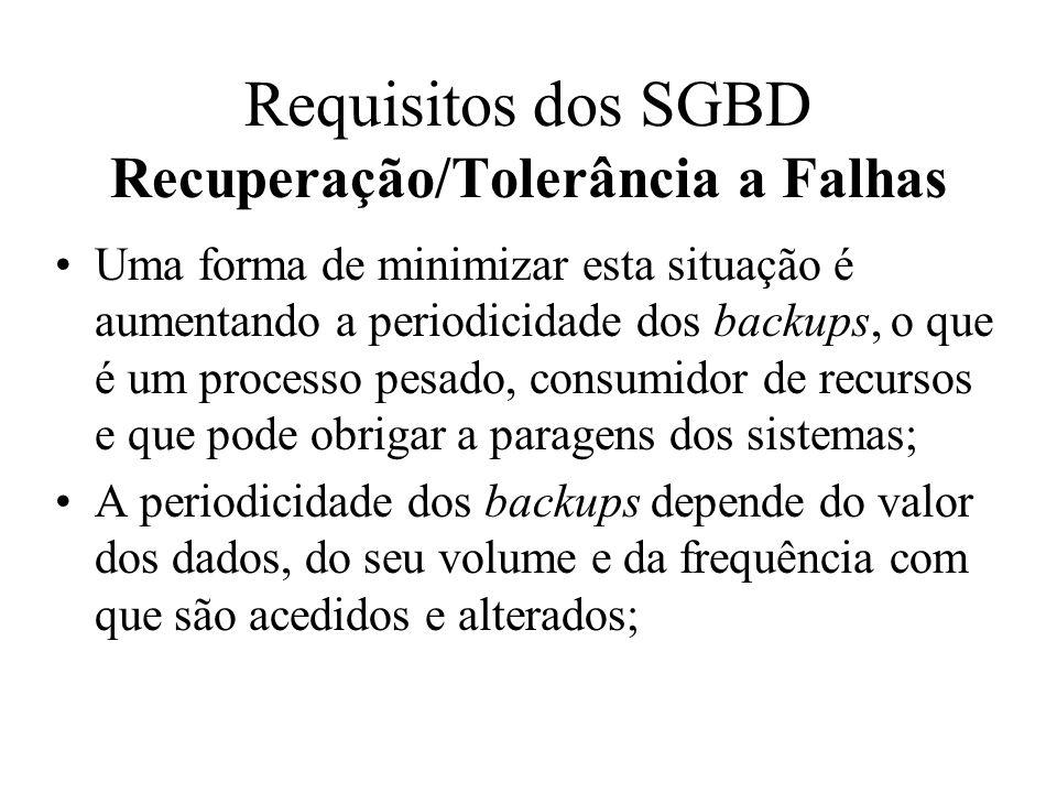 O backup é um mecanismo de reposição da BD.