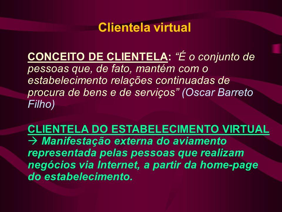 Clientela virtual CONCEITO DE CLIENTELA: É o conjunto de pessoas que, de fato, mantém com o estabelecimento relações continuadas de procura de bens e