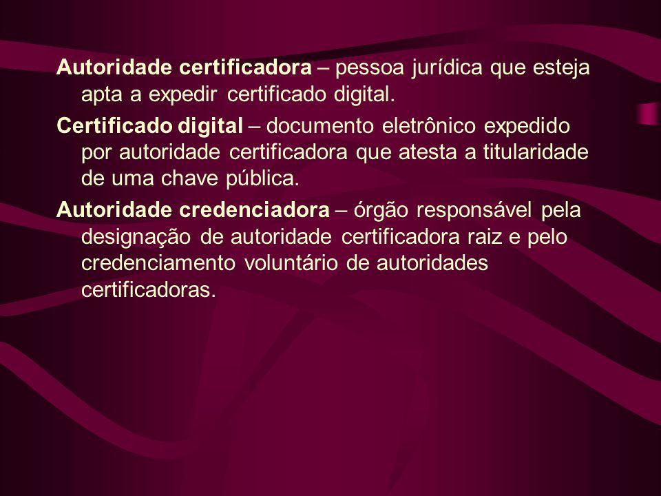 Autoridade certificadora – pessoa jurídica que esteja apta a expedir certificado digital. Certificado digital – documento eletrônico expedido por auto