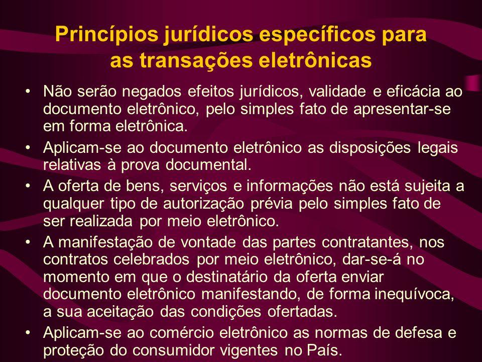 Princípios jurídicos específicos para as transações eletrônicas Não serão negados efeitos jurídicos, validade e eficácia ao documento eletrônico, pelo