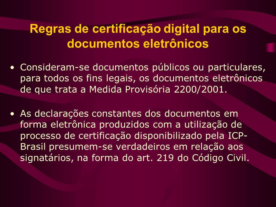 Regras de certificação digital para os documentos eletrônicos Consideram-se documentos públicos ou particulares, para todos os fins legais, os documen