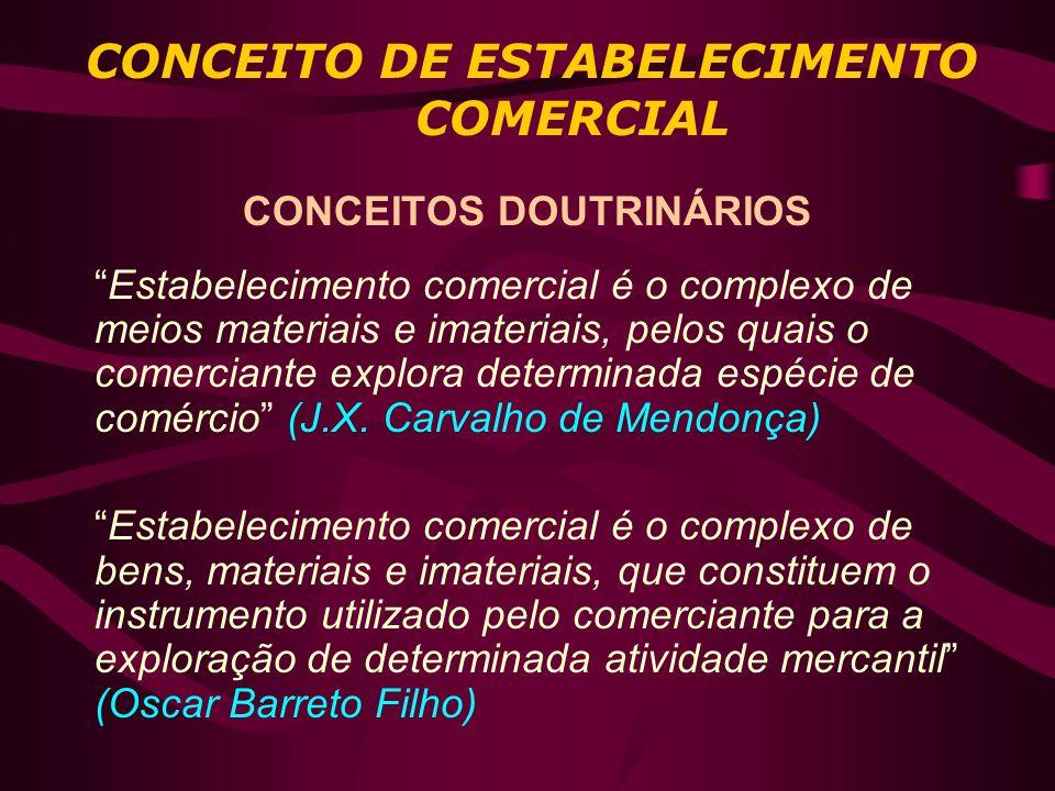 CONCEITO DE ESTABELECIMENTO COMERCIAL CONCEITOS DOUTRINÁRIOS Estabelecimento comercial é o complexo de meios materiais e imateriais, pelos quais o com