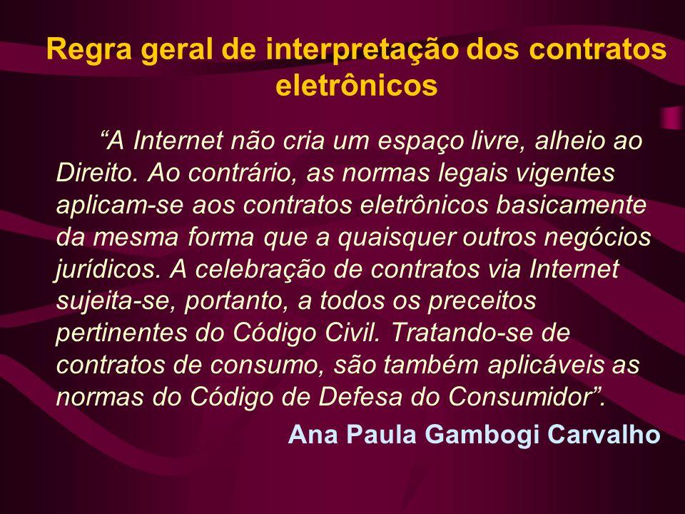 Regra geral de interpretação dos contratos eletrônicos A Internet não cria um espaço livre, alheio ao Direito. Ao contrário, as normas legais vigentes