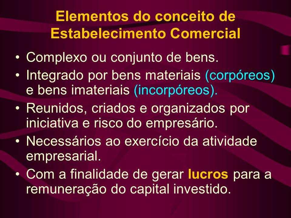 Elementos do conceito de Estabelecimento Comercial Complexo ou conjunto de bens. Integrado por bens materiais (corpóreos) e bens imateriais (incorpóre