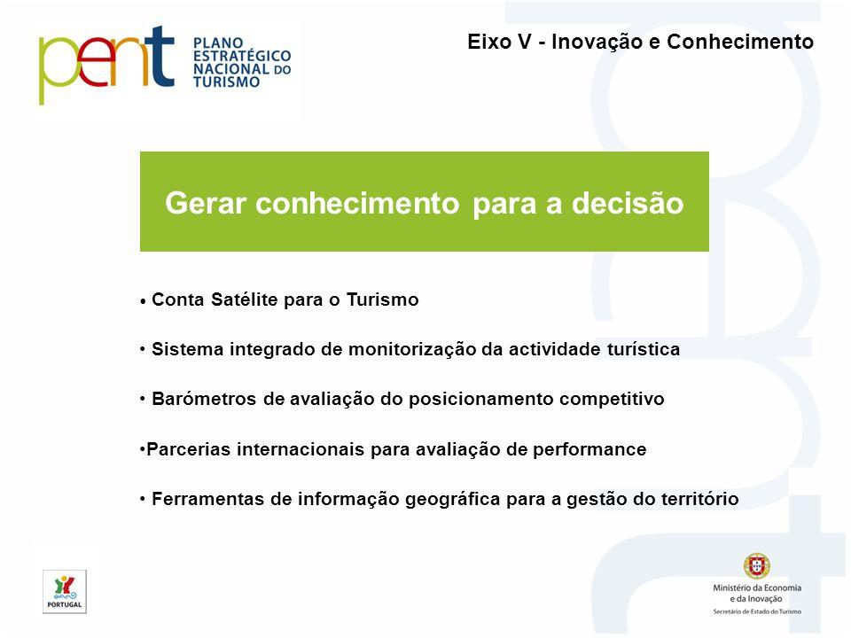 Gerar conhecimento para a decisão Eixo V - Inovação e Conhecimento Conta Satélite para o Turismo Sistema integrado de monitorização da actividade turí