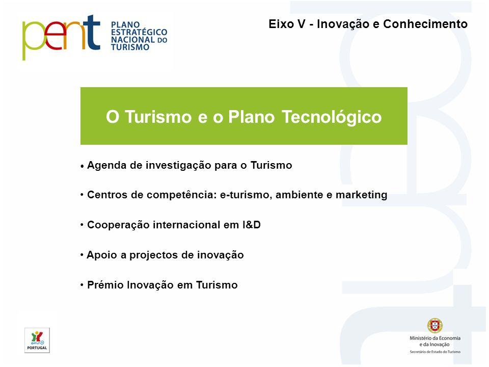 O Turismo e o Plano Tecnológico Agenda de investigação para o Turismo Centros de competência: e-turismo, ambiente e marketing Cooperação internacional