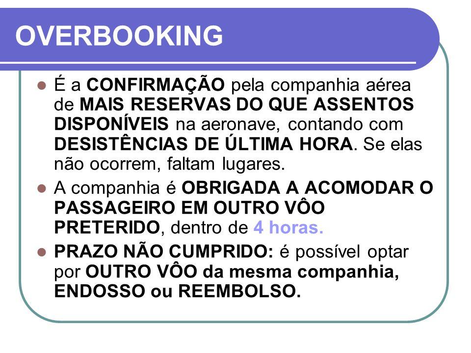 COMPENSAÇÃO Existe os benefícios do Termo de Compromisso, onde a companhia oferece COMPENSAÇÃO aos portadores de bilhete válido – com reserva confirmada e comparecimento para check in com no mínimo: 30 min (vôos domésticos) e 60 min.