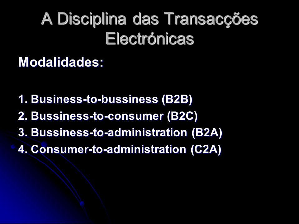 A Disciplina das Transacções Electrónicas Modalidades: 1. Business-to-bussiness (B2B) 2. Bussiness-to-consumer (B2C) 3. Bussiness-to-administration (B