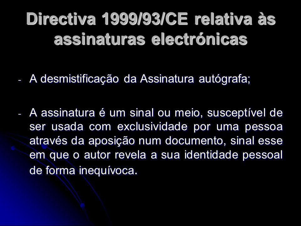 Directiva 1999/93/CE relativa às assinaturas electrónicas - A desmistificação da Assinatura autógrafa; - A assinatura é um sinal ou meio, susceptível