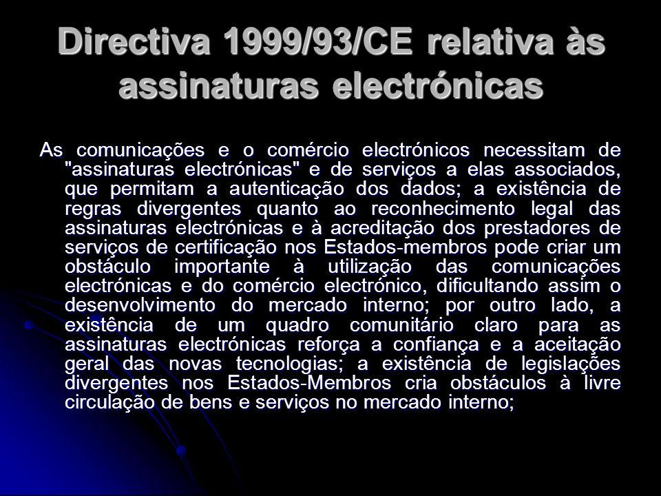 Directiva 1999/93/CE relativa às assinaturas electrónicas As comunicações e o comércio electrónicos necessitam de