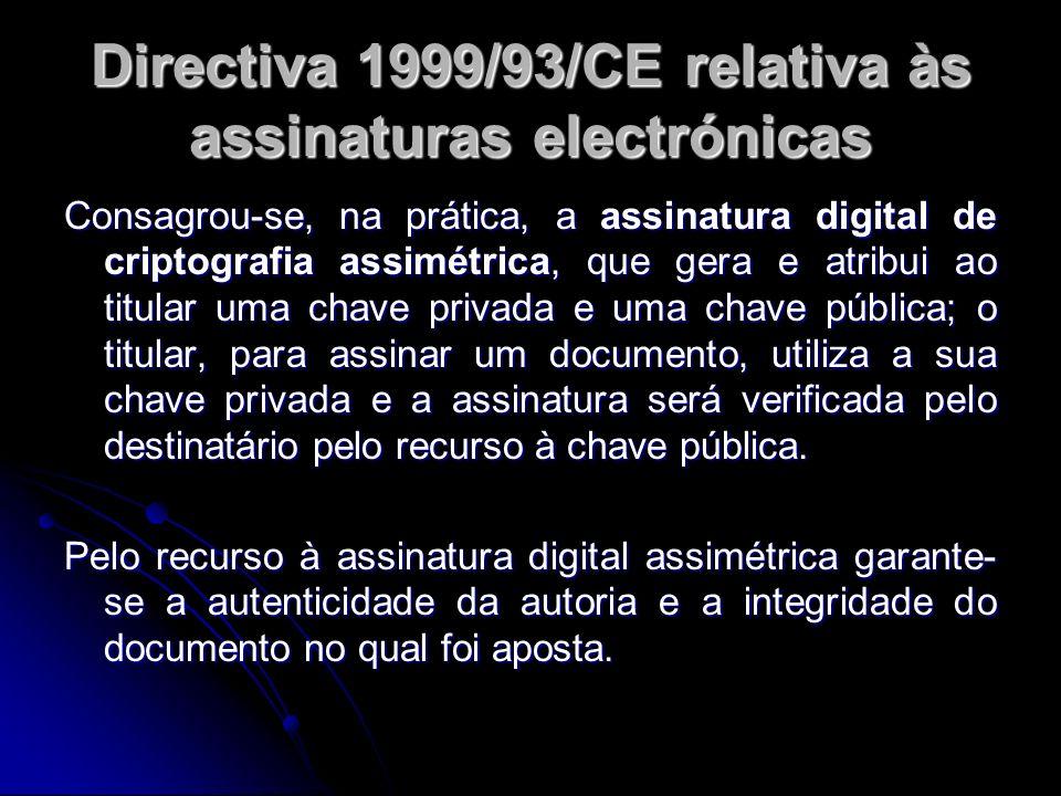 Directiva 1999/93/CE relativa às assinaturas electrónicas Consagrou-se, na prática, a assinatura digital de criptografia assimétrica, que gera e atrib