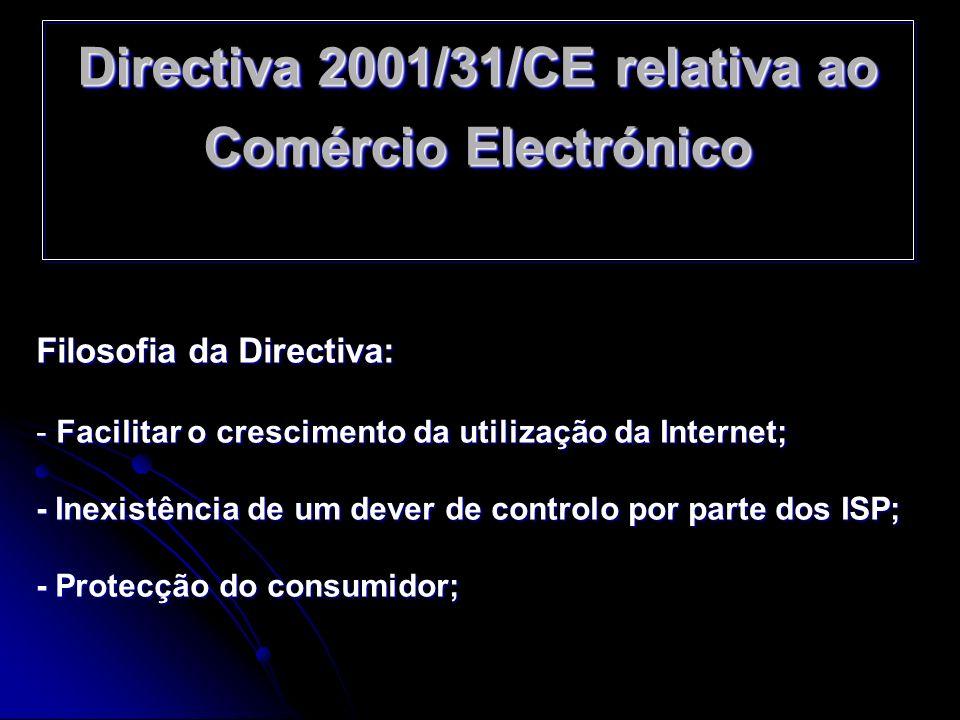 Filosofia da Directiva: - Facilitar o crescimento da utilização da Internet; - Inexistência de um dever de controlo por parte dos ISP; - Protecção do