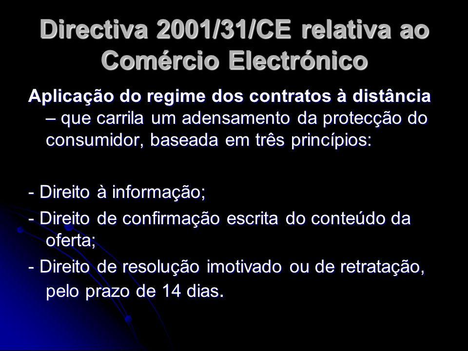 Aplicação do regime dos contratos à distância – que carrila um adensamento da protecção do consumidor, baseada em três princípios: - Direito à informa