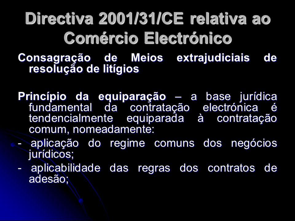 Directiva 2001/31/CE relativa ao Comércio Electrónico Consagração de Meios extrajudiciais de resolução de litígios Princípio da equiparação – a base j