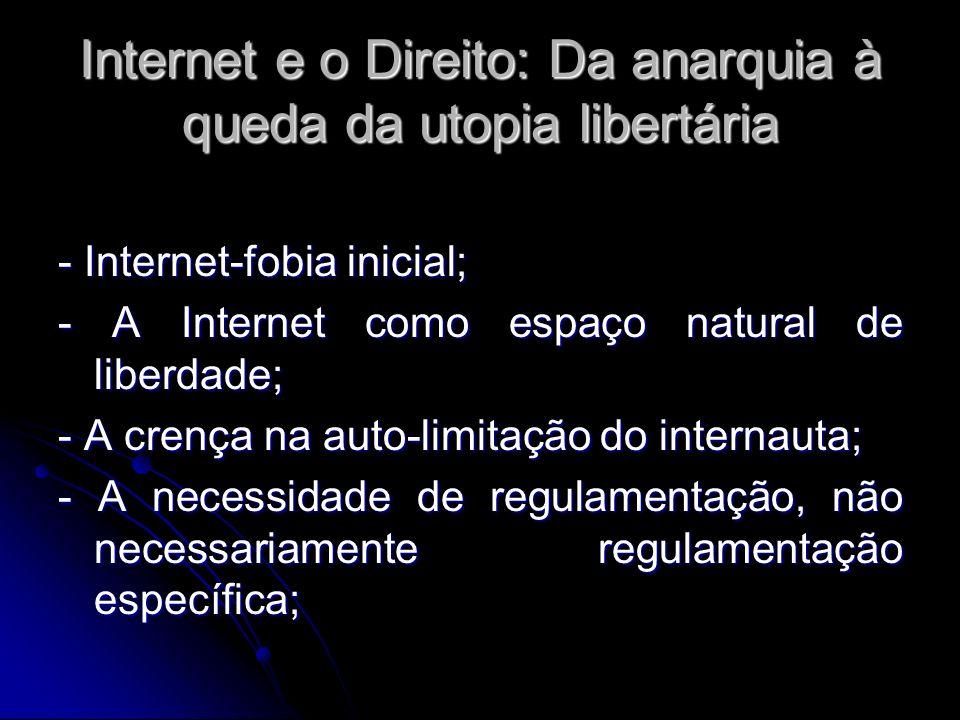 Internet e o Direito: Da anarquia à queda da utopia libertária - Internet-fobia inicial; - A Internet como espaço natural de liberdade; - A crença na