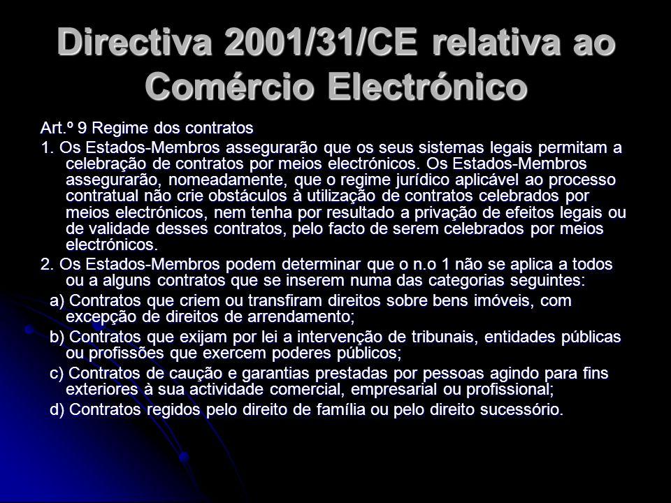 Directiva 2001/31/CE relativa ao Comércio Electrónico Art.º 9 Regime dos contratos 1. Os Estados-Membros assegurarão que os seus sistemas legais permi
