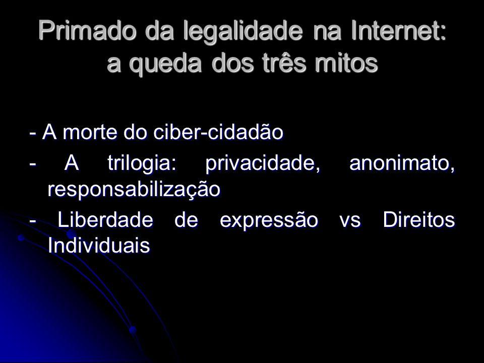 Primado da legalidade na Internet: a queda dos três mitos - A morte do ciber-cidadão - A trilogia: privacidade, anonimato, responsabilização - Liberda