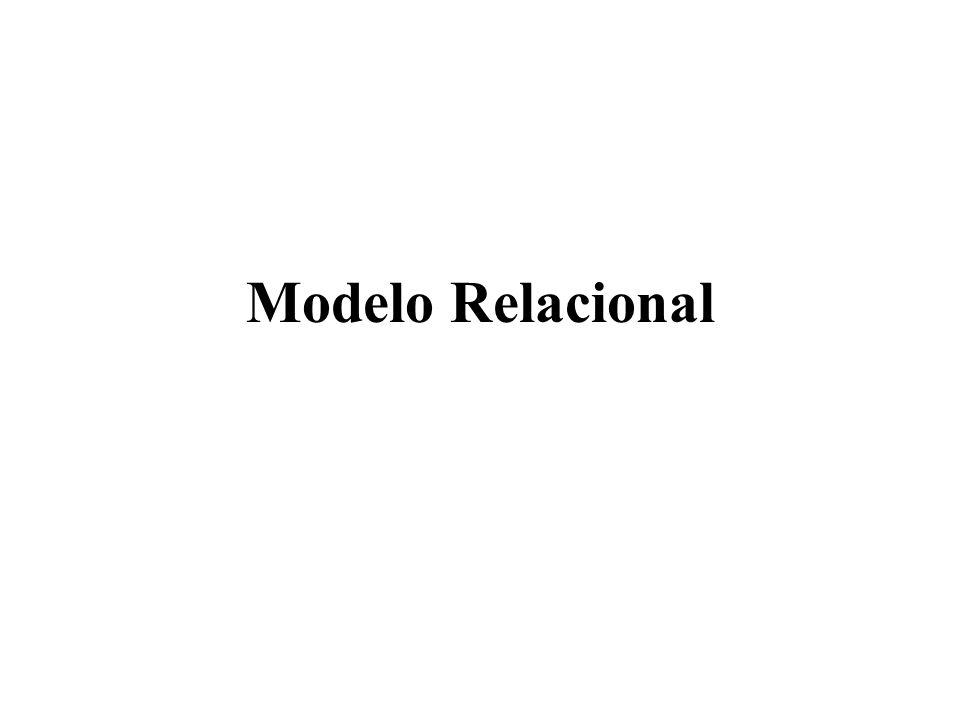 Modelo Relacional Características das Relações O valor de um atributo num tuplo é atómico (no cruzamento de uma linha com uma coluna, só é possível encontrar um valor); Os atributos de uma relação devem ter identificadores distintos; Os tuplos de uma relação devem ser distintos (não podem existir dois tuplos com o mesmo valor para todos os atributos)