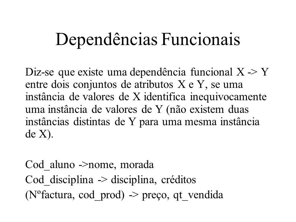Dependências Funcionais Diz-se que existe uma dependência funcional X -> Y entre dois conjuntos de atributos X e Y, se uma instância de valores de X i