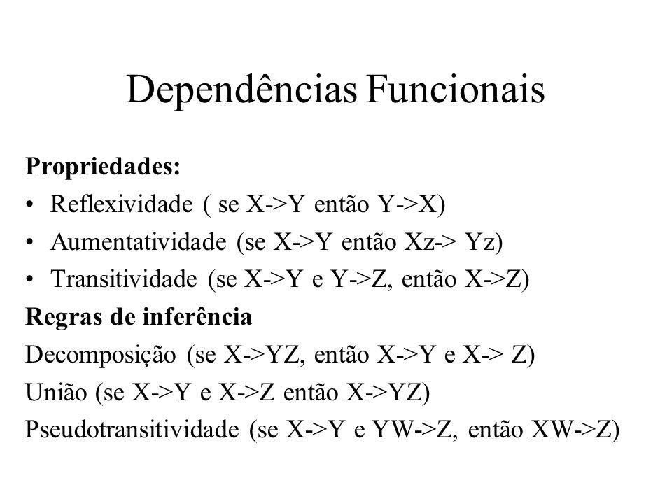 Propriedades: Reflexividade ( se X->Y então Y->X) Aumentatividade (se X->Y então Xz-> Yz) Transitividade (se X->Y e Y->Z, então X->Z) Regras de inferê