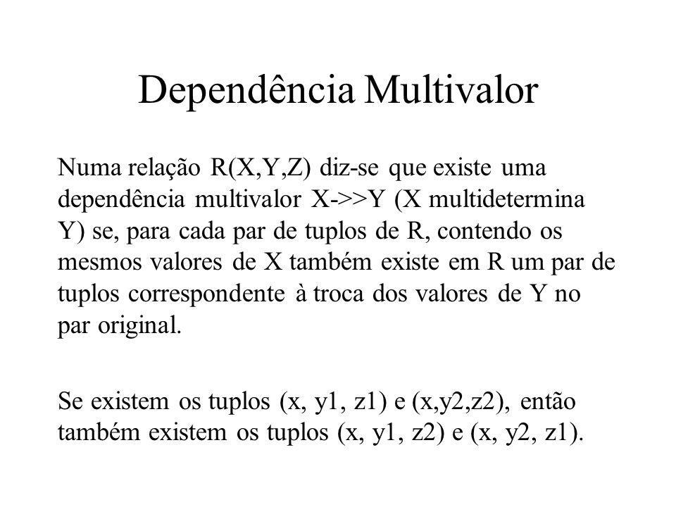 Dependência Multivalor Numa relação R(X,Y,Z) diz-se que existe uma dependência multivalor X->>Y (X multidetermina Y) se, para cada par de tuplos de R,