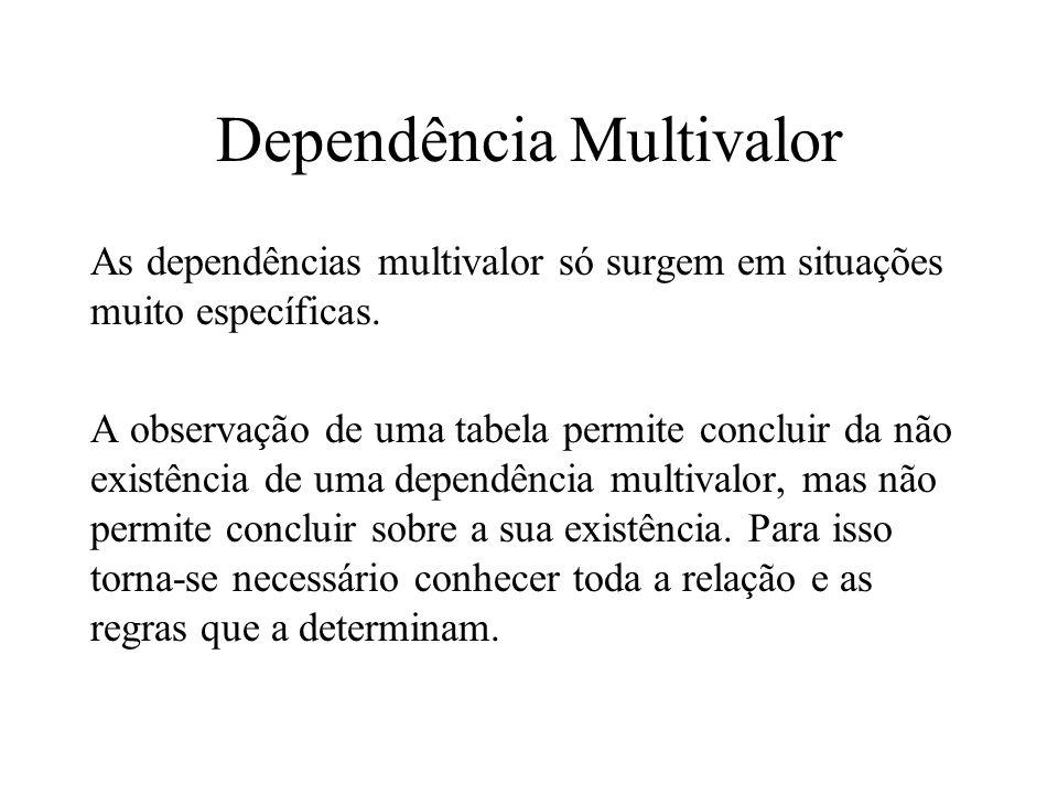 As dependências multivalor só surgem em situações muito específicas. A observação de uma tabela permite concluir da não existência de uma dependência