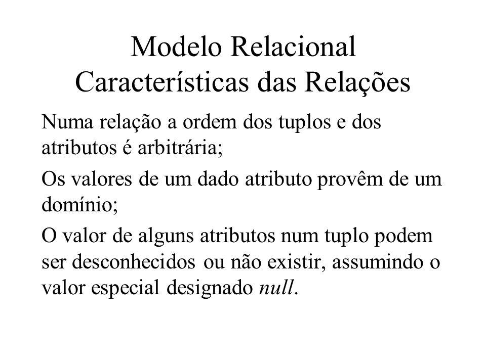 Existem dois tipos de tabelas ou relações: Relações base que constituem o esquema da base de dados, onde estão armazenados os dados; Relações virtuais ou views, que não têm existência própria – resultam das relações base para permitir vistas parciais sobre o esquema da base de dados Modelo Relacional Características das Relações